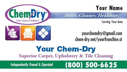 High quality chem dry business cards idg services chem dry business card front style 2 reheart Choice Image
